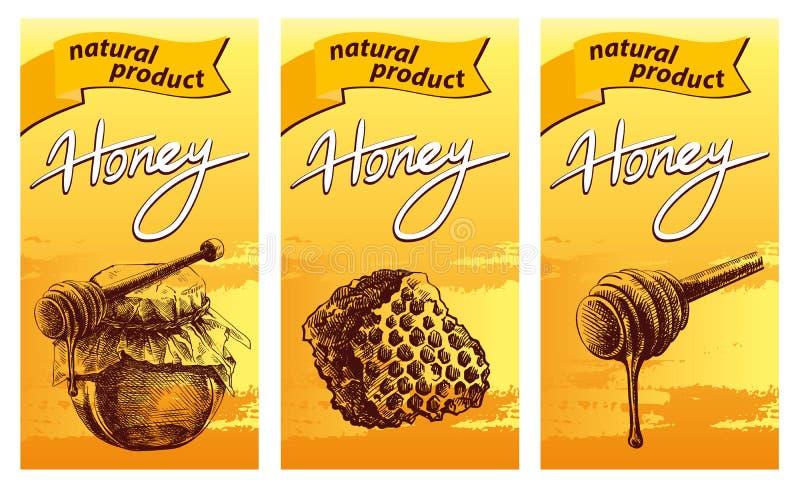 Honingskruik, houten dipper stok en honingraat stock illustratie