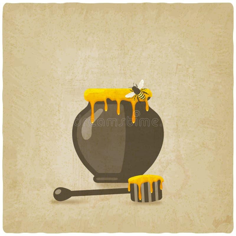 Honingspot met bij en houten dipper op oud vector illustratie