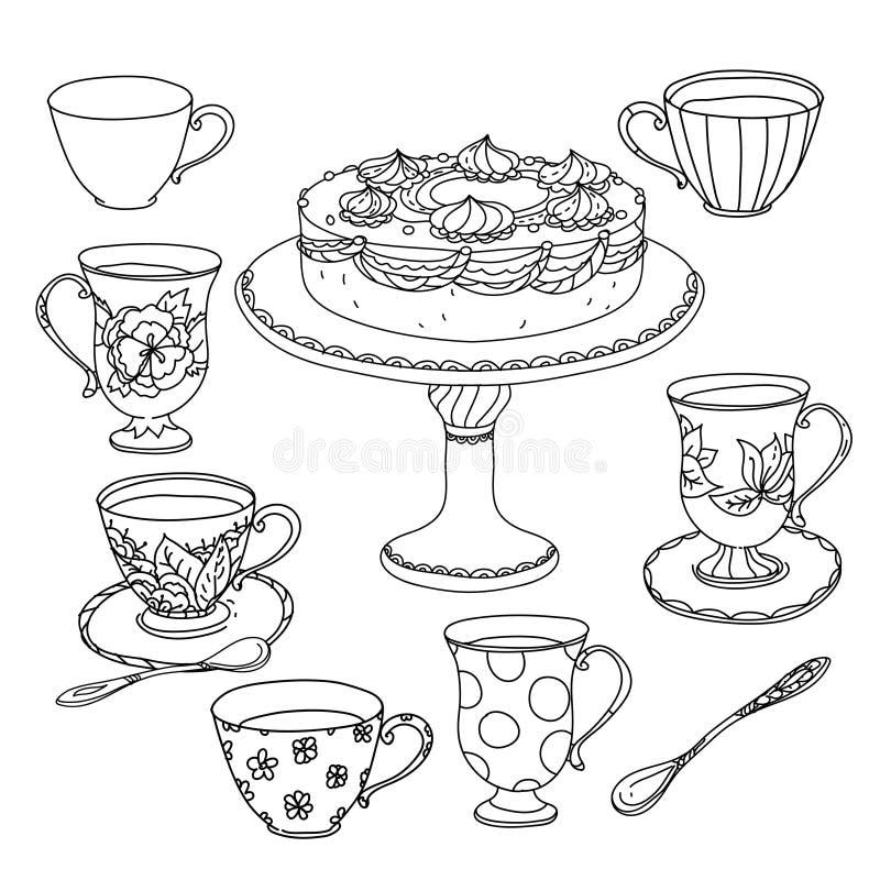 Honingsthee met koppen Hand getrokken vectorillustratie vector illustratie