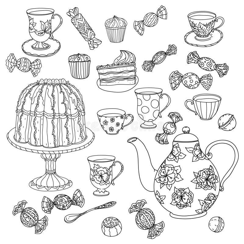 Honingsthee met koppen Hand getrokken vectorillustratie royalty-vrije illustratie