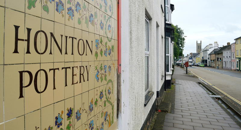 Honiton. High Street in Honiton, Devon famous by antique shops stock photography