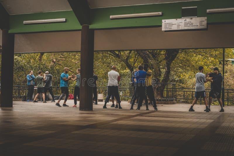 Honk Kong, noviembre de 2018 - parkHonk Kong de Nan Lian Garden, noviembre de 2018 - fu del kunf que entrena al parque de la ciud imágenes de archivo libres de regalías