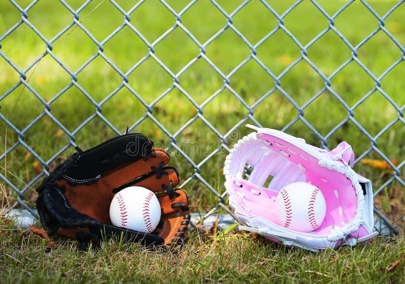 honkbal Ballen in Handschoenen op Groen Gras Wijfje versus Mannetje royalty-vrije stock afbeelding