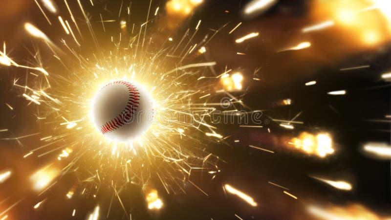 honkbal De bal van het honkbal Honkbalachtergrond met vurige vonken in actie royalty-vrije stock afbeelding