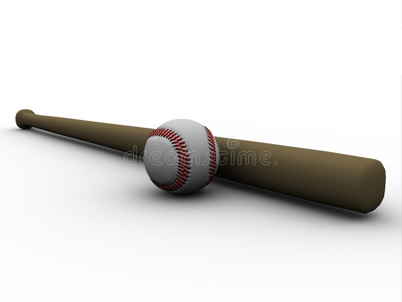 Honkbal en honkbalknuppel stock illustratie