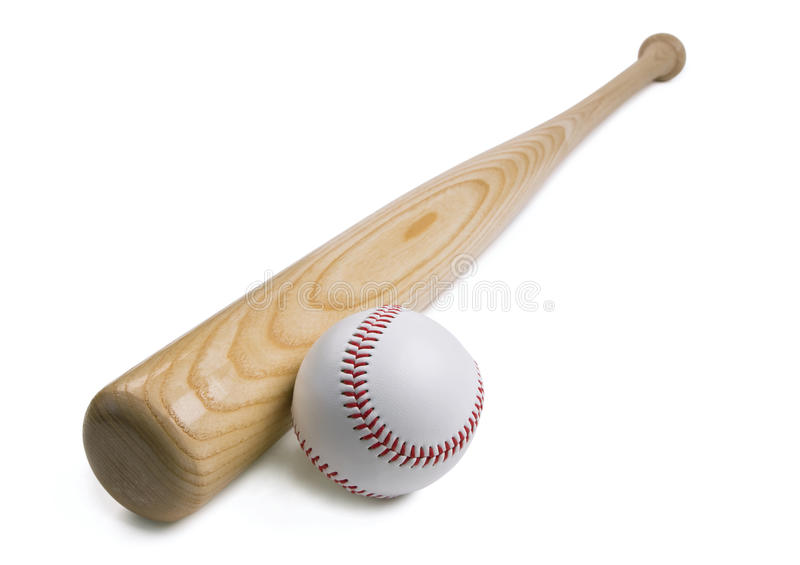 Honkbal en honkbalknuppel op wit royalty-vrije stock fotografie