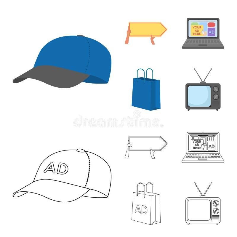 Honkbal GLB, wijzer in handen, laptop, het winkelen zak Adverterend, vastgestelde inzamelingspictogrammen in beeldverhaal, de vec vector illustratie