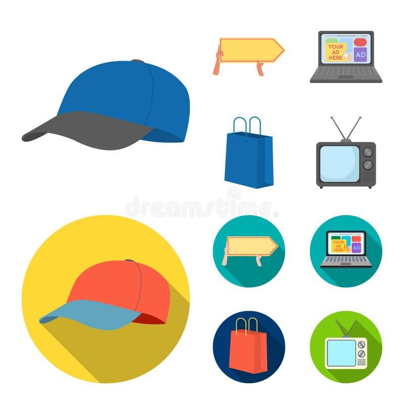 Honkbal GLB, wijzer in handen, laptop, het winkelen zak Adverterend, vastgestelde inzamelingspictogrammen in beeldverhaal, vlakke royalty-vrije illustratie