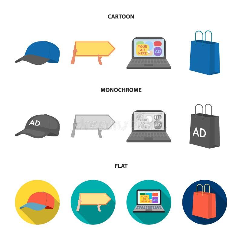 Honkbal GLB, wijzer in handen, laptop, het winkelen zak Adverterend, vastgestelde inzamelingspictogrammen in beeldverhaal, vlakke stock illustratie