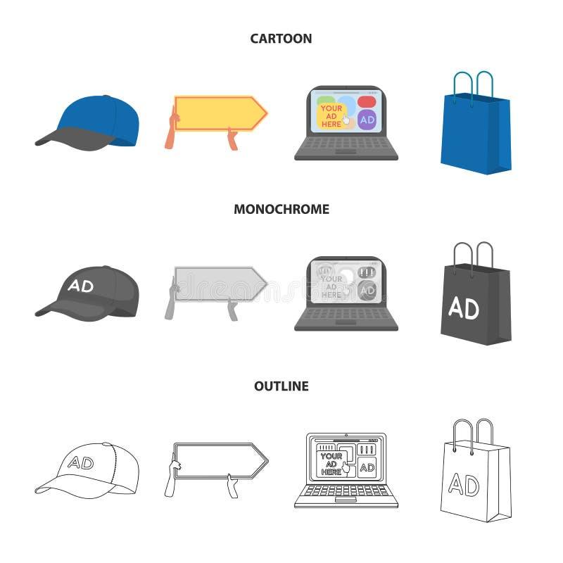 Honkbal GLB, wijzer in handen, laptop, het winkelen zak Adverterend, vastgestelde inzamelingspictogrammen in beeldverhaal, zwart- royalty-vrije illustratie