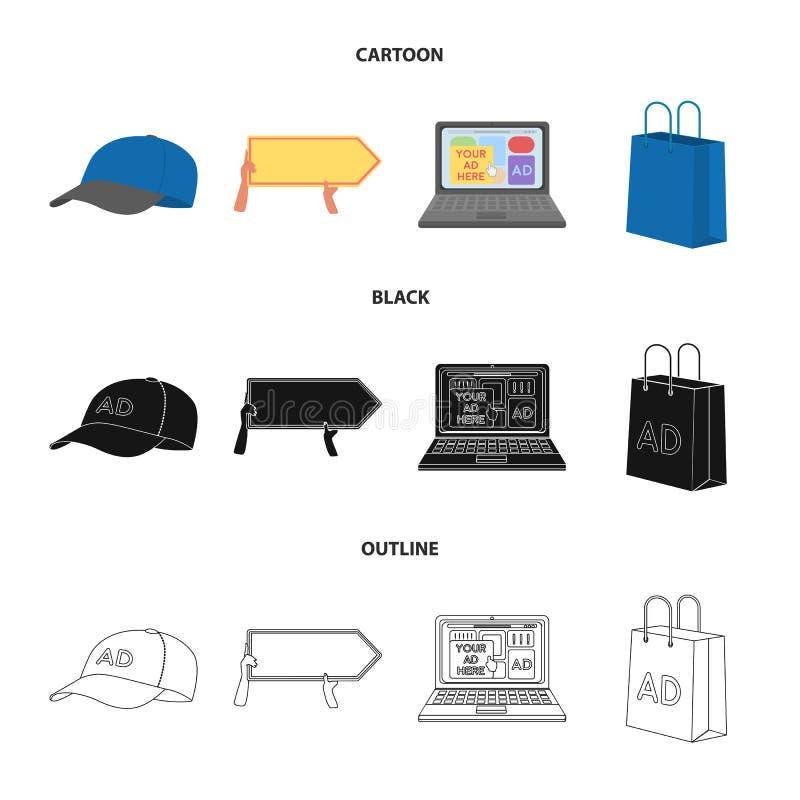 Honkbal GLB, wijzer in handen, laptop, het winkelen zak Adverterend, vastgestelde inzamelingspictogrammen in beeldverhaal, zwarte vector illustratie