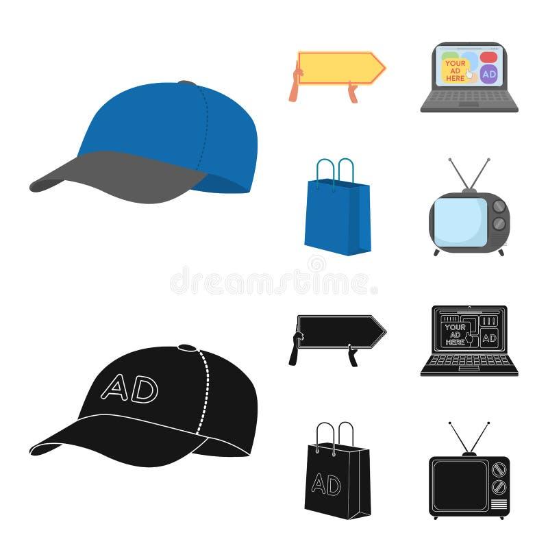 Honkbal GLB, wijzer in handen, laptop, het winkelen zak Adverterend, vastgestelde inzamelingspictogrammen in beeldverhaal, zwarte royalty-vrije illustratie