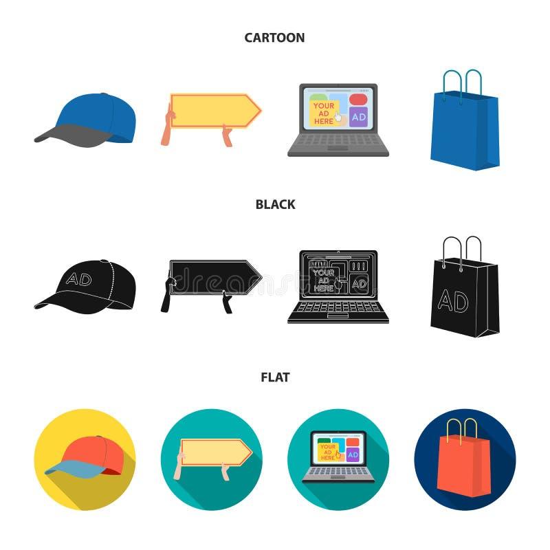 Honkbal GLB, wijzer in handen, laptop, het winkelen zak Adverterend, vastgestelde inzamelingspictogrammen in beeldverhaal, zwarte stock illustratie