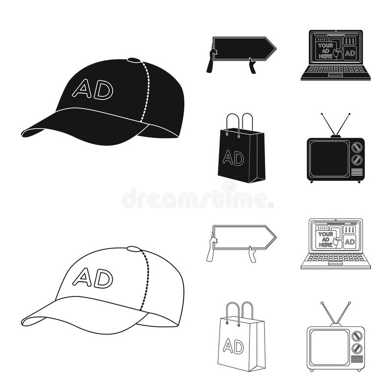 Honkbal GLB, wijzer in handen, laptop, het winkelen zak Adverterend, vastgestelde inzamelingspictogrammen in zwarte, de vector va royalty-vrije illustratie