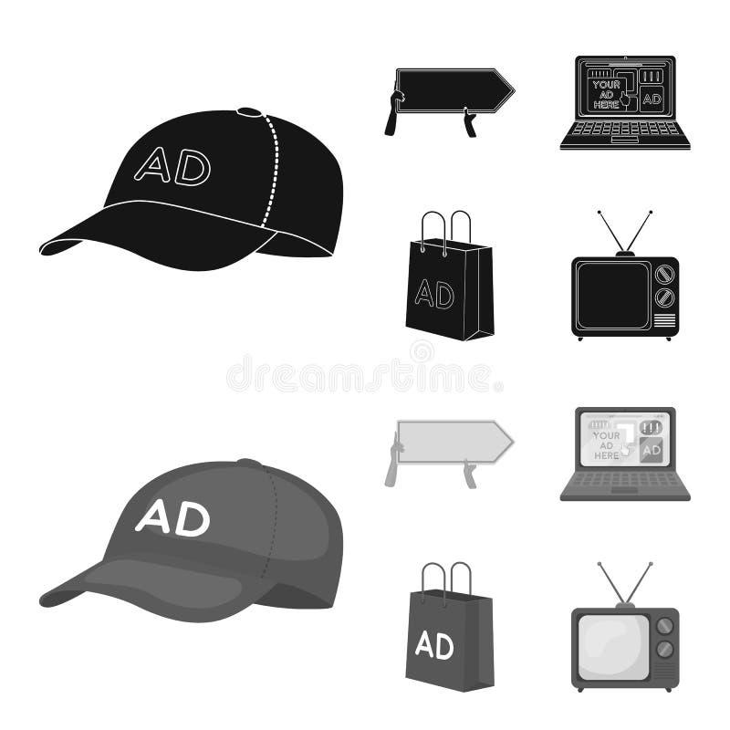 Honkbal GLB, wijzer in handen, laptop, het winkelen zak Adverterend, vastgestelde inzamelingspictogrammen in zwarte, zwart-wit st stock illustratie