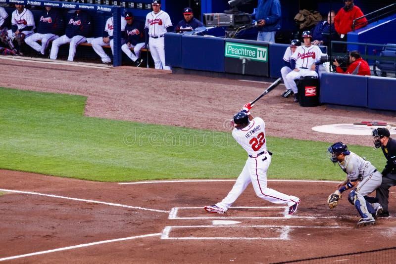 Honkbal - het Raken van Atlanta Braves Jason Heyward royalty-vrije stock afbeeldingen