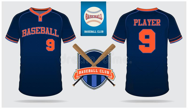 Honkbal Jersey, eenvormige sport, raglan t-shirtsport, kort, sokmalplaatje De spot van de honkbalt-shirt omhoog Vlak honkbalemble stock illustratie