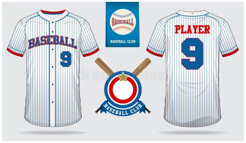 Honkbal Jersey, eenvormige sport, raglan t-shirtsport, kort, sokmalplaatje De spot van de honkbalt-shirt omhoog Vlak honkbalemble royalty-vrije illustratie