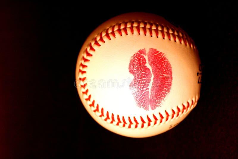Honkbal met lippenstift royalty-vrije stock foto