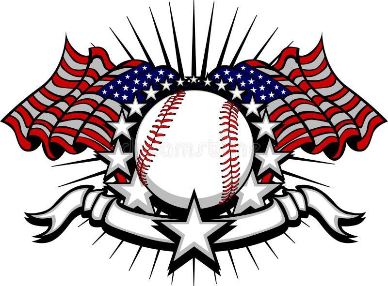 Honkbal met Vlaggen en Sterren royalty-vrije illustratie