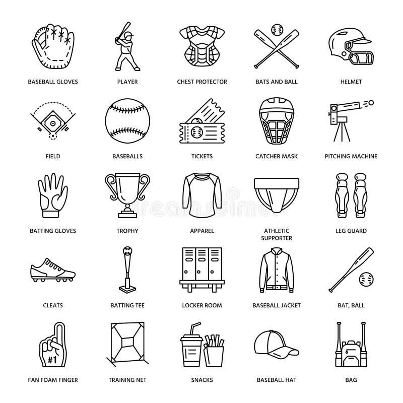 Honkbal, pictogrammen van de het spel de vectorlijn van de softballsport Bal, knuppel, gebied, helm, het werpen machine, vangerma royalty-vrije illustratie