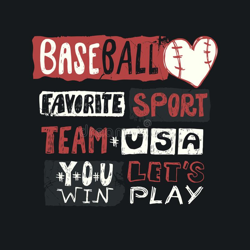 Honkbal vectorillustratie voor de V.S. Schets het van letters voorzien, favoriete sport, wint u, team, grunge, drukontwerp voor k vector illustratie
