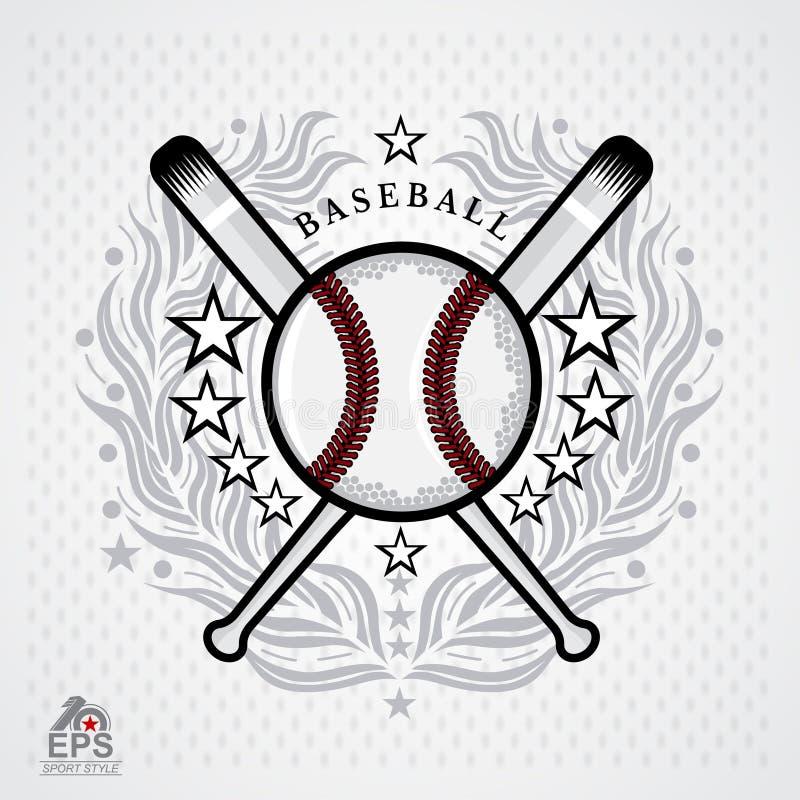 Honkbalbal in centrum van zilveren lauwerkrans op lichte achtergrond Illustratie van openlucht het ontwerppictogram van avonturen stock illustratie