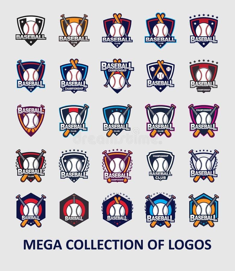 Honkbalemblemen Reeks van 25 honkbaletiketten voor uw zaken Moderne ontwerpsjablonen voor sport vector illustratie