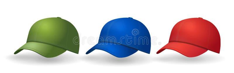 Honkbalkappen geplaatst Realistische hoedeninzameling royalty-vrije illustratie