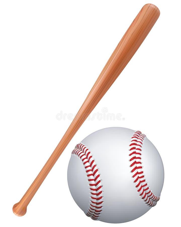 Honkbalknuppel en bal. Vectorillustratie vector illustratie