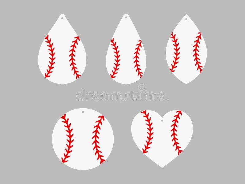Honkbaloorringen softball Honkbalkant De malplaatjes van de het leeroorring van de sportbal Vector vector illustratie