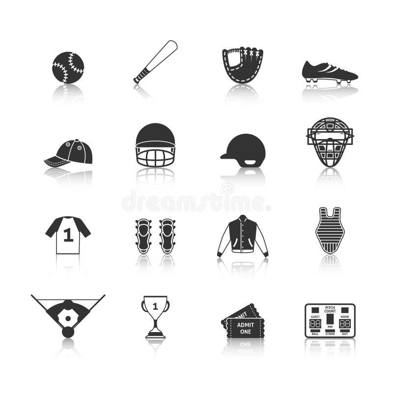 Honkbalpictogrammen Geplaatst Zwart vector illustratie