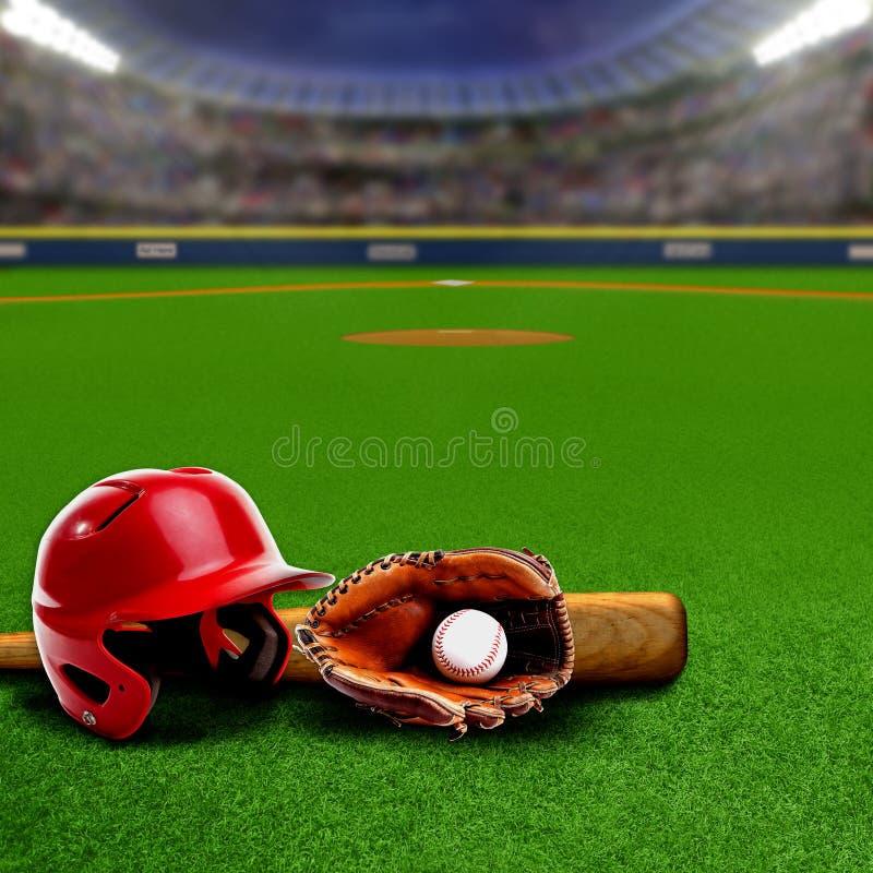 Honkbalstadion met Materiaal en Exemplaarruimte stock foto's