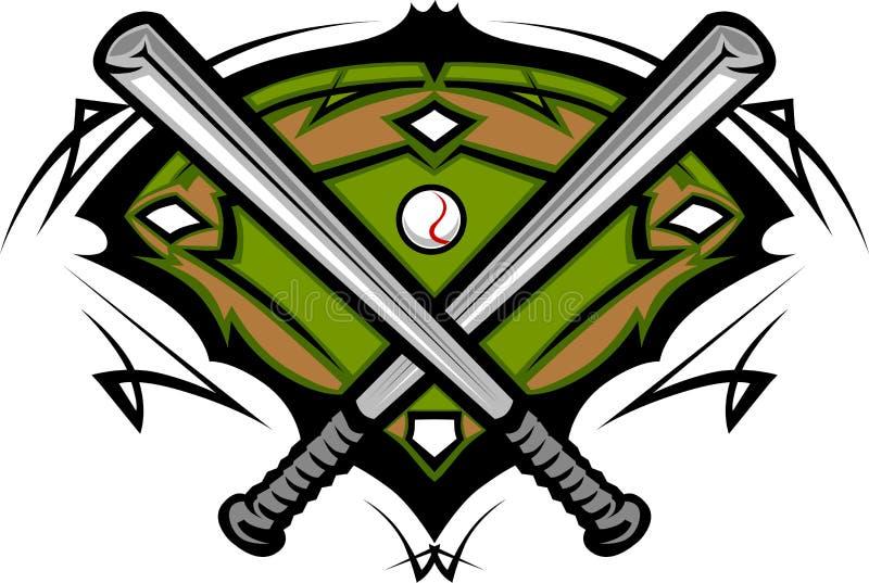 Honkbalveld met het Malplaatje van de Knuppels van het Softball vector illustratie