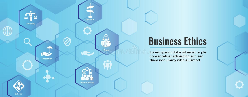 Honnêteté réglée de l'icône solide W d'éthique d'affaires, intégrité, engagement, illustration de vecteur