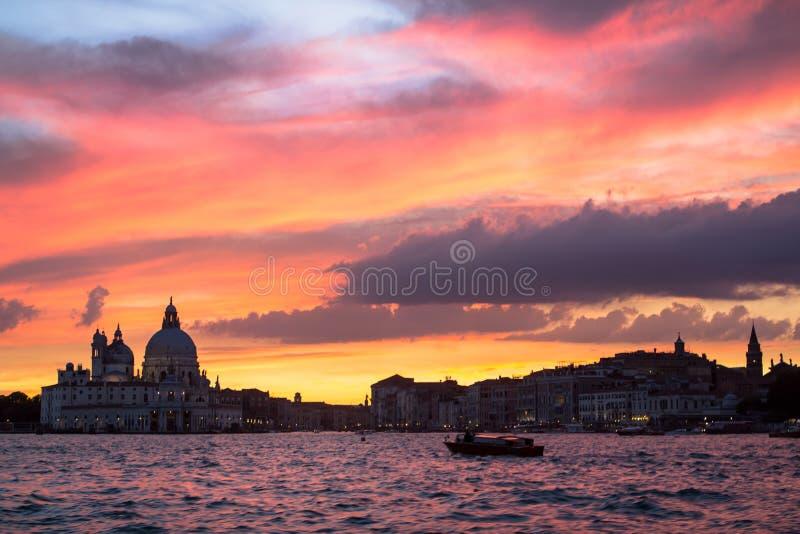 Honnör för basilikaSanta Maria della på solnedgången, Venedig royaltyfria foton
