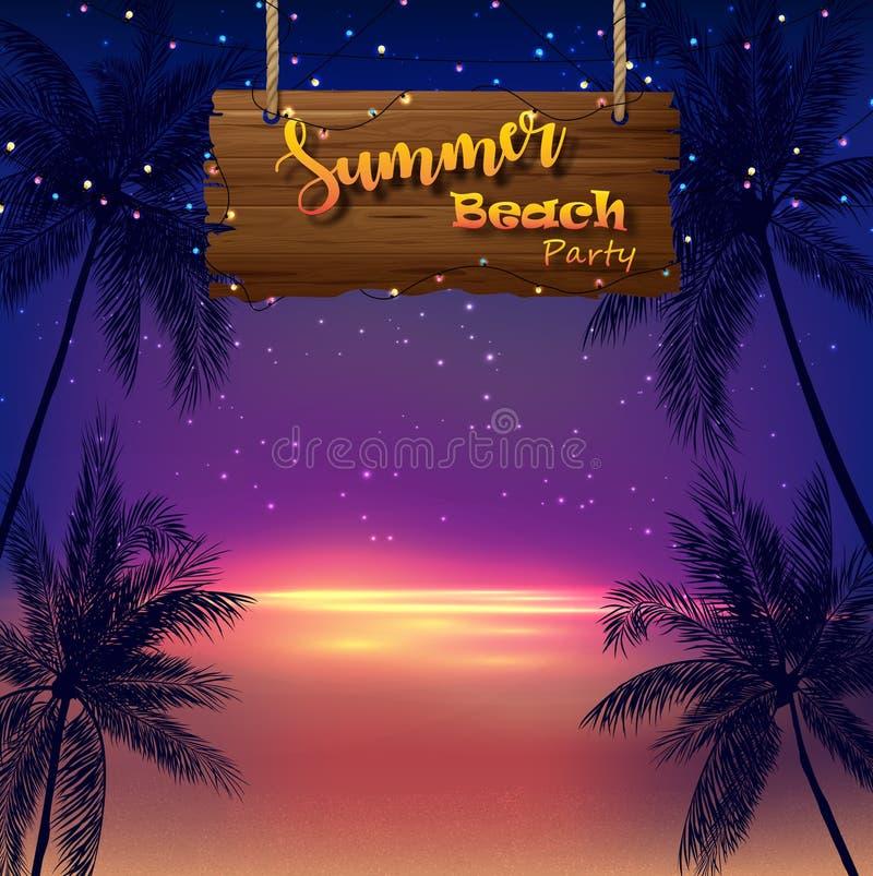 Honnörvektor som isoleras på svart bakgrund Tropiska palmträd och trätecken på nattbakgrund stock illustrationer