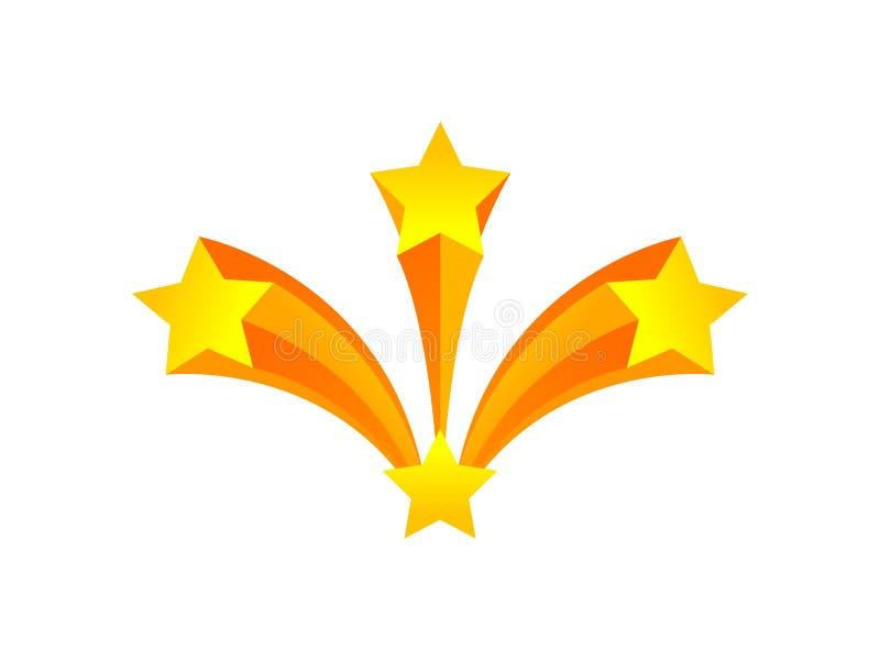 honn?r Tre stjärnor flyger ut ur en white f?r vektor f?r bakgrundsillustrationhaj royaltyfri illustrationer