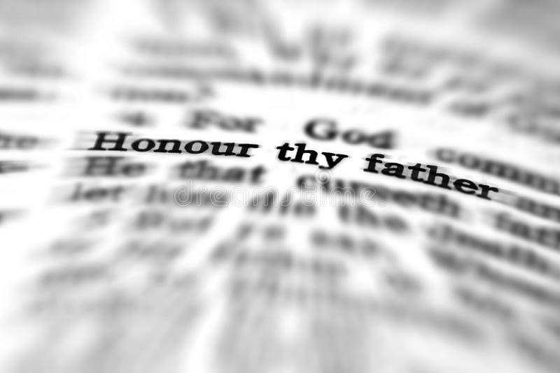 Honneur de citation d'écriture sainte de nouveau testament ton père images libres de droits