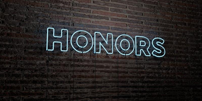 HONNEURS - enseigne au néon réaliste sur le fond de mur de briques - image courante gratuite de redevance rendue par 3D illustration libre de droits