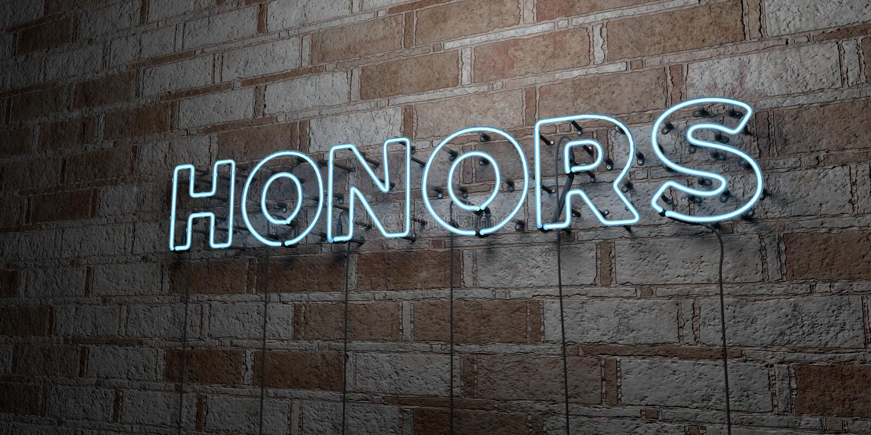 HONNEURS - Enseigne au néon rougeoyant sur le mur de maçonnerie - 3D a rendu l'illustration courante gratuite de redevance illustration stock