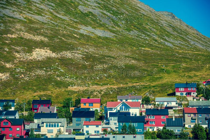 Honningsvag city, Mageroya island. Norway. Honningsvag city, Nordkapp, Mageroya island. Norway. Village at the foot of the mountain royalty free stock photos