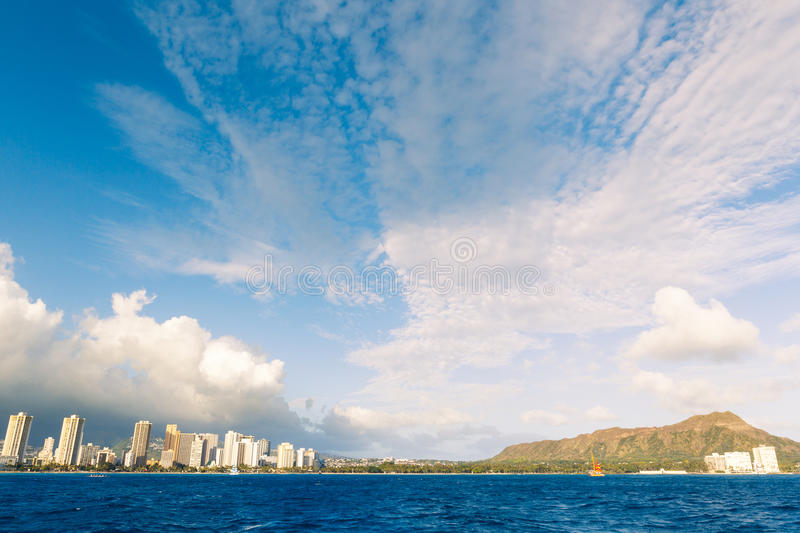 Honolulu City Skyline From Water Stock Photos