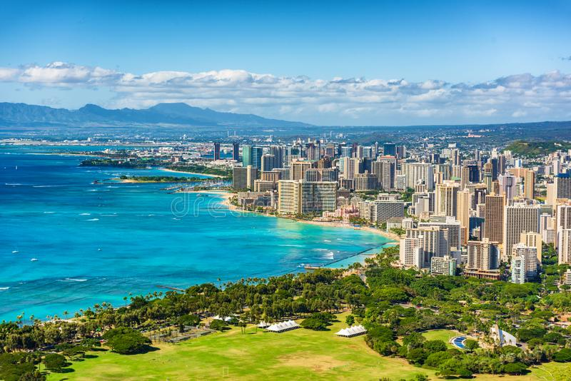Honolulu city view from Diamond Head lookout, Waikiki beach landscape background. Hawaii travel royalty free stock photos