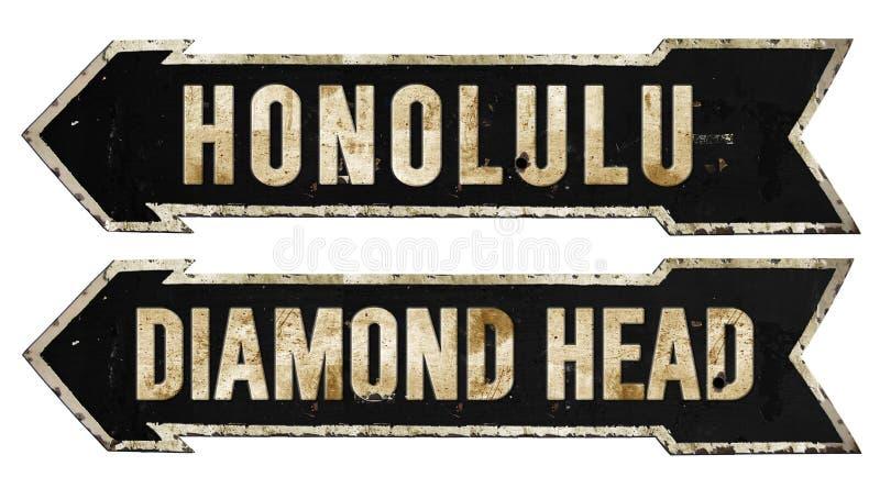 Honolulu Diamond Head Hawaii Grunge Vintage Metal Rustic Old Antique. Honolulu Diamond Head Hawaii Street Sign Grunge Rustic Hawaii Island Vintage Antique look stock photos