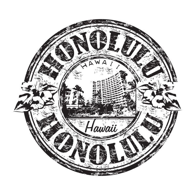 Honolulu grunge rubber stamp