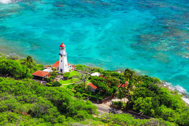 Honolulu, Hawaii. Diamond head Lighthouse view from the top stock photos