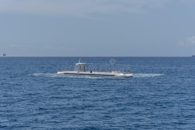 Submarine operated by Atlantis Waikiki. Honolulu, Hawaii - March 30, 2019: Submarine operated by Atlantis Waikiki Submarine Adventure. The hour submarine ride stock photography