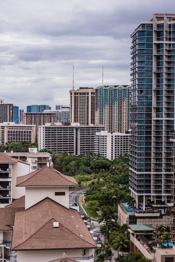 Waikiki Citiscape After Hurricane Lane royalty free stock photo