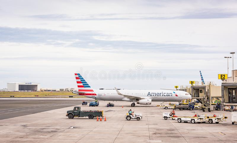 American Airlines Aircraft at Honolulu Airport. Honolulu, Hawaii / USA - August 26, 2018: Daniel K. Inouye International Airport, also known as Honolulu stock photography